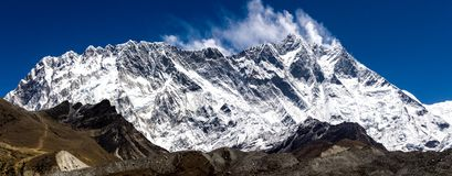 Front view of south face wall of Lhotze and Nuptse mountain in Nepal. Himalayas.  8516 meters above the sea. Covered by clouds. royalty free stock photo