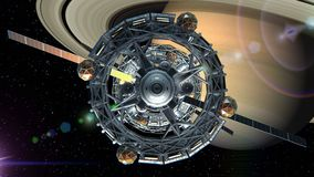Flight through the door of the sci-fi spaceship on background of Saturn, green screen, 3d animation. Texture of the