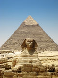 Front on view of The Sphinx and Kafre's Pyramid. In Giza Stock Photos