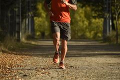 Sport man with ripped athletic and muscular legs running off road in jogging training workout at countryside in Autumn background royalty free stock photo