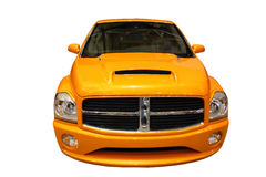 Front View Of A Sporty Dodge Ram Pickup Truck. Isolated front view of a dodge ram pickup, sporty yellow stock image