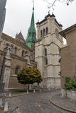 Front view of St. Pierre Cathedral in Geneva, Switzerland Stock Photo