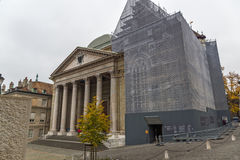 Front view of St. Pierre Cathedral in Geneva, Switzerland Stock Photos