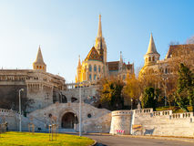 Front view of staircase of Fisherman Bastion on the Buda Castle Hill in Budapest, Hungary. Sunny autumn day shot Royalty Free Stock Photography