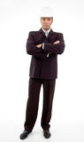 Front view of standing architect with crossed arms Royalty Free Stock Photography