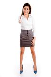 Front view of standing female offering handshake. On an isolated background Royalty Free Stock Images