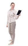 Front view of standing young beautiful  girl with tablet compute Stock Image