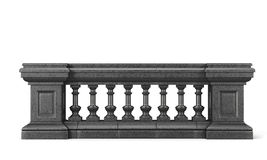 Front view stone balustrade on white background. 3d rendering Royalty Free Stock Photo