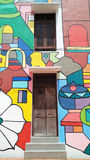 Front view of Street Art in Melaka with Doors Stock Image