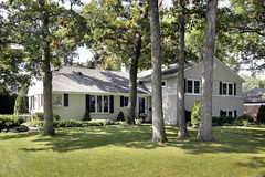 Front view of suburban home. On wooded lot Royalty Free Stock Image