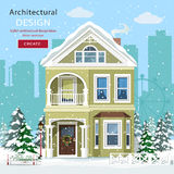 Front view of suburban home in snowfall. Royalty Free Stock Photos