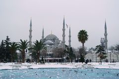 Sultan Ahmet Mosque at Snowy Day. istanbul. royalty free stock photo