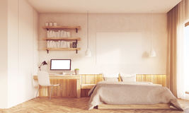 Front view of sunlit home office and master bedroom  Royalty Free Stock Photography