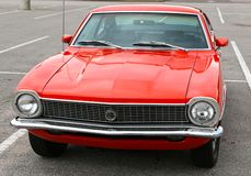 Front View of Super Orange 1965 Ford Maverick Antique Car Royalty Free Stock Photos