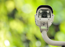 Front view of surveillance camera against nature background Stock Photography