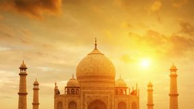 Taj Mahal India. Front view Taj Mahal in Agra, India on sunset. 4k footage video panning or zoom stock footage