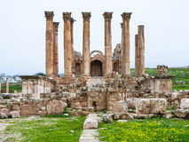 Front view Temple of Artemis in Jerash in winter Stock Photo
