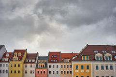 Front view of tenement houses against the sky Royalty Free Stock Images