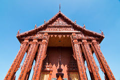 Front view of terra-cotta church at temple Royalty Free Stock Photos