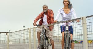 Front view of thoughtful active senior African American couple standing with bicycle on promenade 4k. Front view of thoughtful active senior African American stock video footage