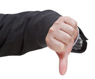 Front view of thumbs down sign - hand gesture Stock Photos