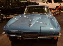Front view to blue Chevrolet Corvette Stingray 1967 exposed in BrianzaMotorShow. Royalty Free Stock Photo