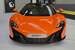 Front view to McLaren650S luxury orange sport car. Royalty Free Stock Image