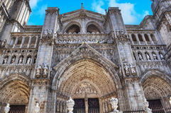 Front view of Toledo cathedral Stock Photos
