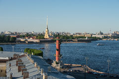 The front view of the top of the rostral column, Peter and Paul Stock Photos