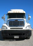 Front View of Tractor Trailer. The front view of a semi or tractor trailer truck on a sunny day Stock Photos