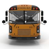 Front view Traditional yellow schoolbus isolated on white. 3D illustration Royalty Free Stock Photo
