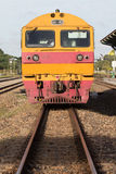 Front view of trains on railways track parking in railroads plat Stock Photography