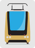 Front view of Tram car or trolley car flat design Royalty Free Stock Images
