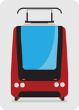 Front view of Tram car or trolley car flat design Stock Image