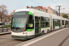 Front of Tram in Nantes, France. Front view of tram in Nantes, France Royalty Free Stock Photography