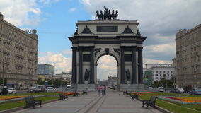 Front view of Triumphal Arch in Moscow. Moscow, Russia - July 16, 2017: Front view of Triumphal Arch in Moscow stock video