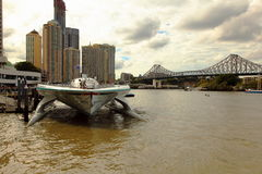 Front view of Turanor Planet Solar Brisbane River Stock Photography