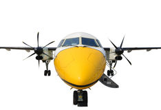 Front view turboprop airplane Royalty Free Stock Image