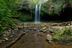 Front view of twinfalls on the North side of Maui Hawaii Stock Image