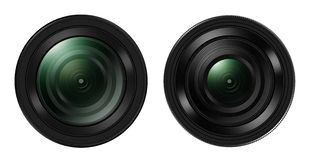 Front view of Two DSLR camera lens isolated on white. Backgroun Stock Photo