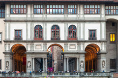 Front view Uffizi Gallery palace from Arno river Stock Images