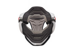 Front view of Used white bike neck brace Stock Image
