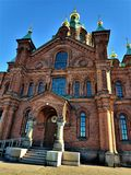Front view of the Uspenski cathedral in Helsinki royalty free stock photo