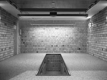 Front View van ampty Garage 3D Binnenland met Geopende Roldeur 3 Royalty-vrije Stock Afbeelding