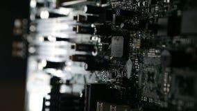 Front View van een Computermotherboard Spaander stock footage