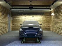 Front View van een Garage met een auto 3D Binnenland met Geopende Rol Stock Fotografie