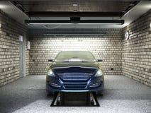 Front View van een Garage met een auto 3D Binnenland met Geopende Rol Royalty-vrije Stock Afbeeldingen
