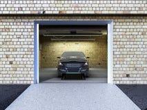 Front View van een Garage met een auto 3D Binnenland met Geopende Rol Royalty-vrije Stock Foto's