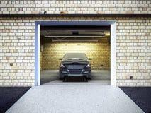Front View van een Garage met een auto 3D Binnenland met Geopende Rol Stock Afbeelding