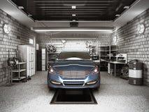 Front View van een Garage met een auto 3D Binnenland met Geopende Rol Stock Afbeeldingen
